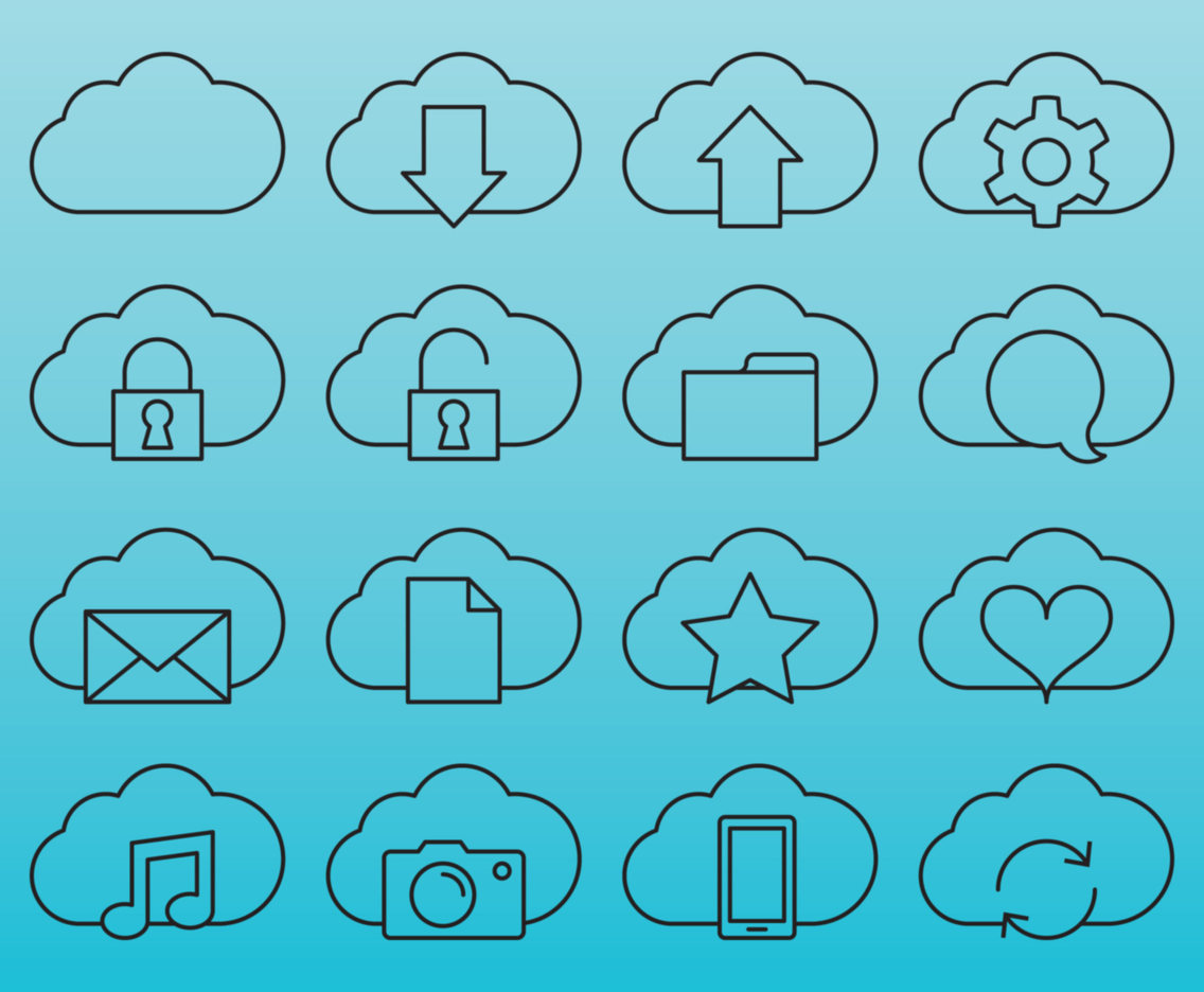 Line Cloud Service Icons