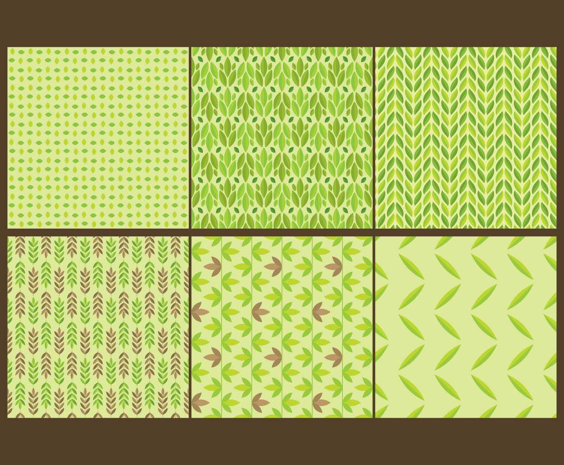 Green Leaf Seamless Patterns