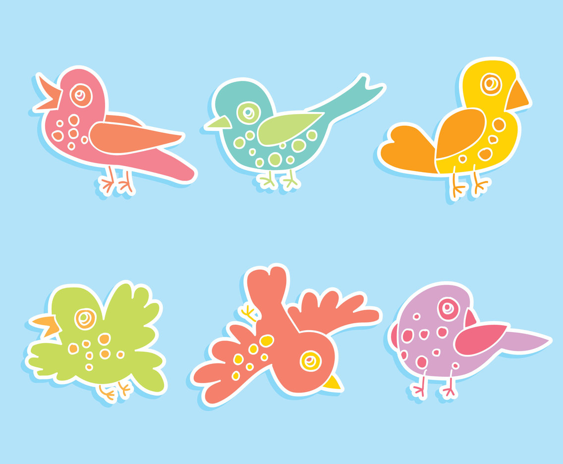 Colorful Cartoon Birds Vector