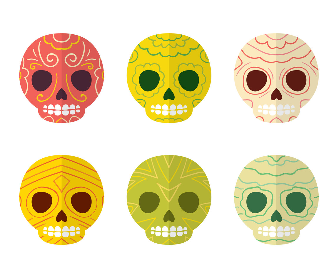 Colorful Mexican Skull Collection Vector