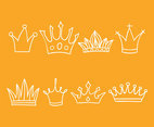Hand Drawn Cartoon Crown Vector Set