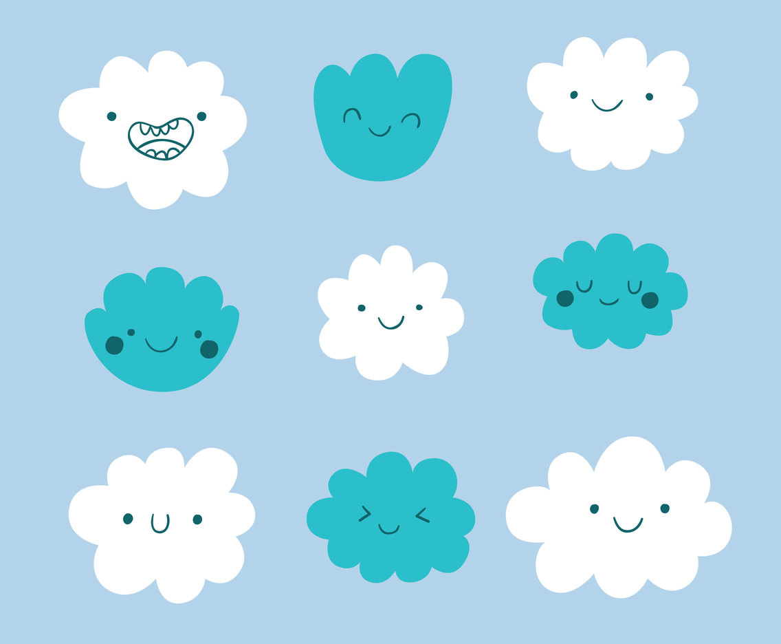 Cute cartoon Clouds Vector Set