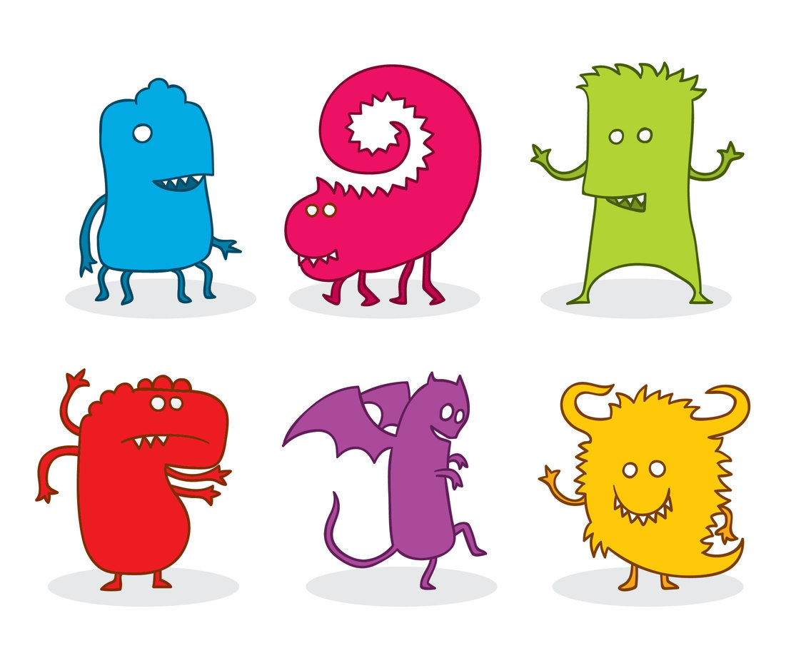 Colorful Cartoon Monster Vector Set