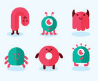 Flat Cartoon Monsters Vector