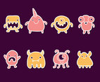 Simple Cartoon Monsters Vector Set