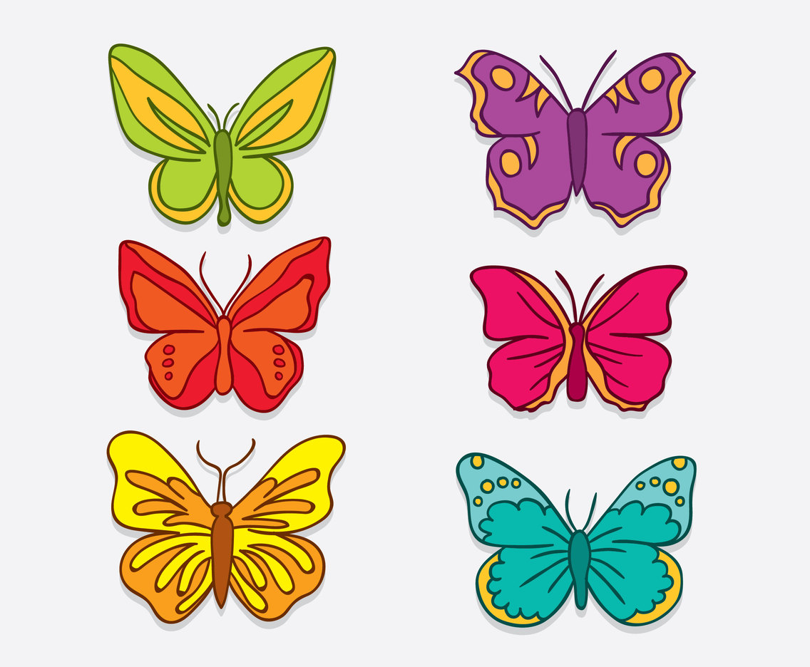 Hand Drawn Butterfly Clip Art Vector