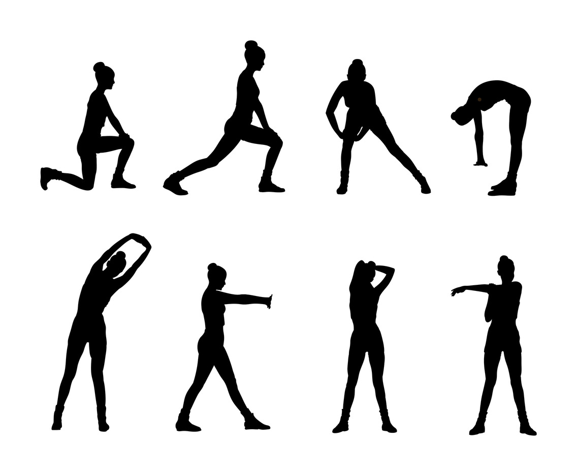 woman stretching silhouette vector vector art   graphics healthcare logos health logistics catalog