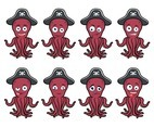 Pirate Octopus Cartoon Vector
