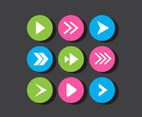 Neon Arrow Vector Buttons