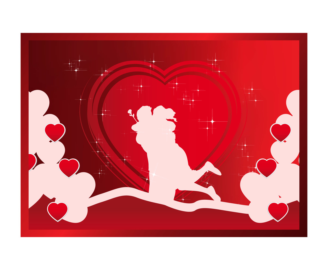 Heart Background with Young Couple Vector
