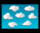 Cloud Flat Vector with Blue Background