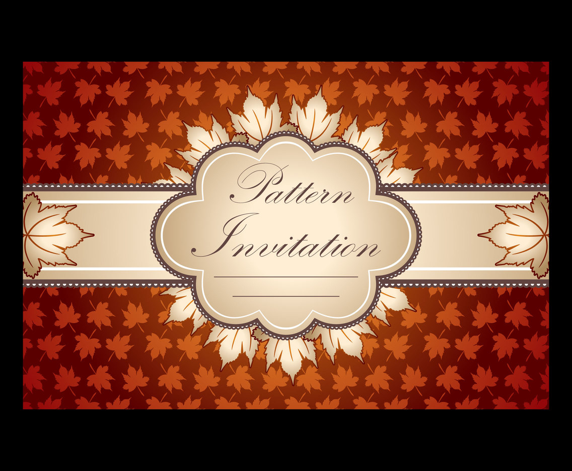 Leaf Pattern Invitation Background Vector