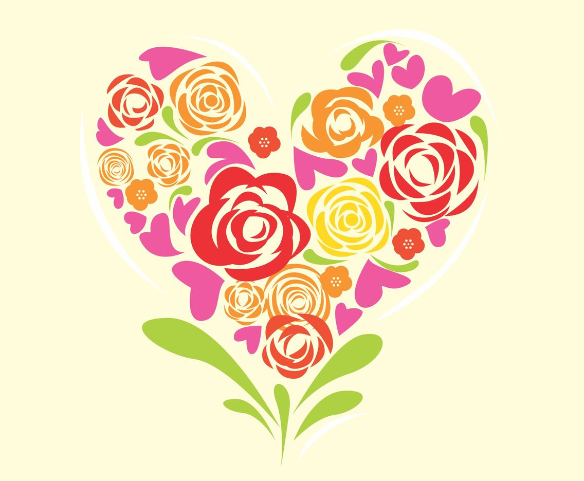 Flower Heart Background Vector