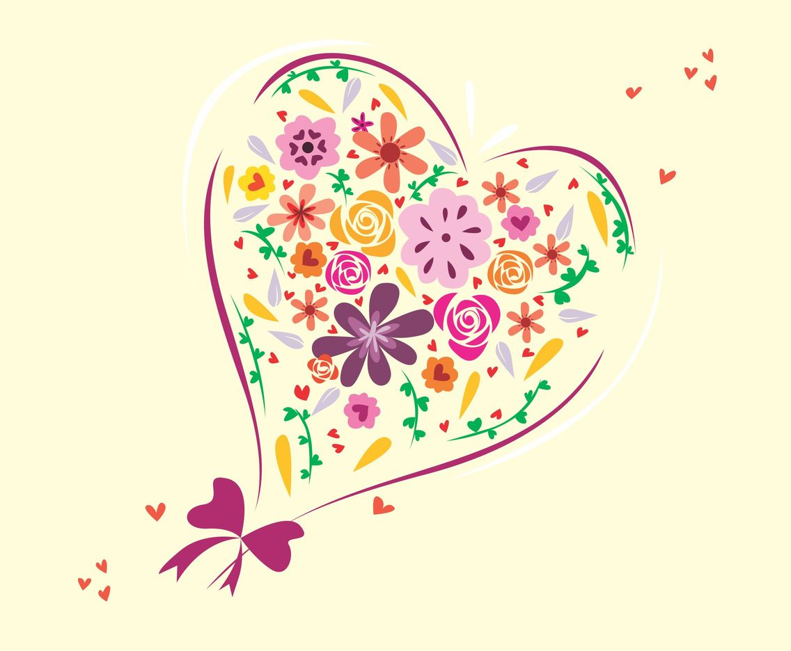 Bouquet Heart Background Vector