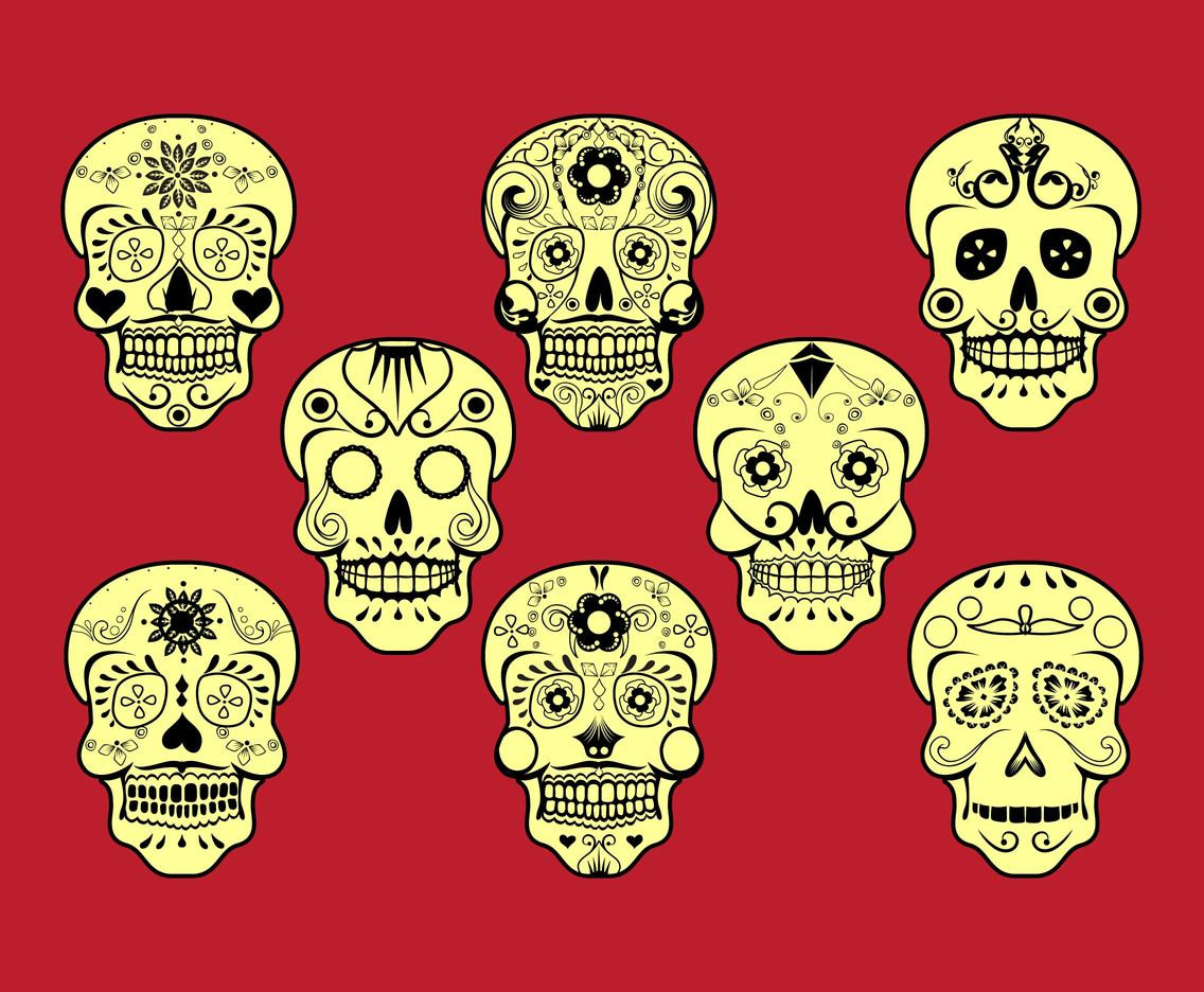 Mexican skull silhouette vector set