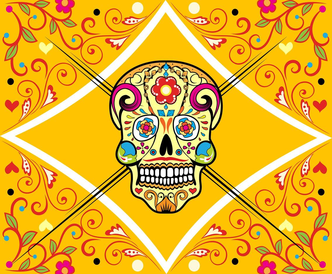 Mexican skull illustation vector