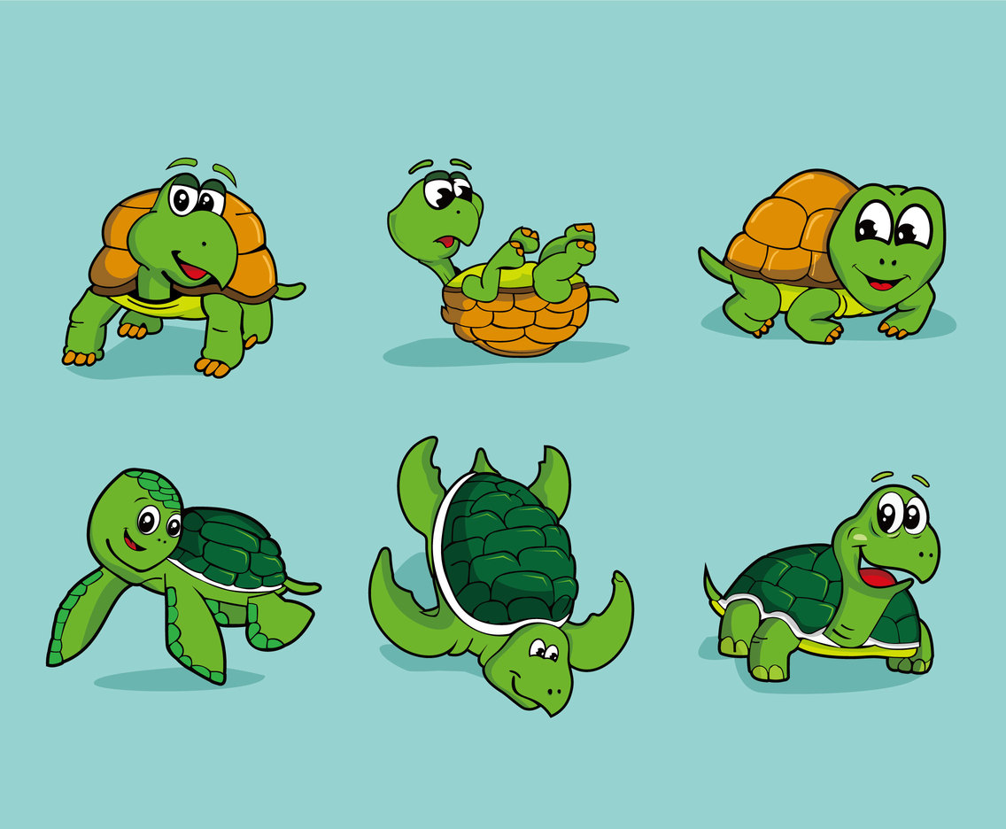 Cartoon turtle vector pack