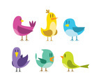 Isolated Cartoon Birds Vector