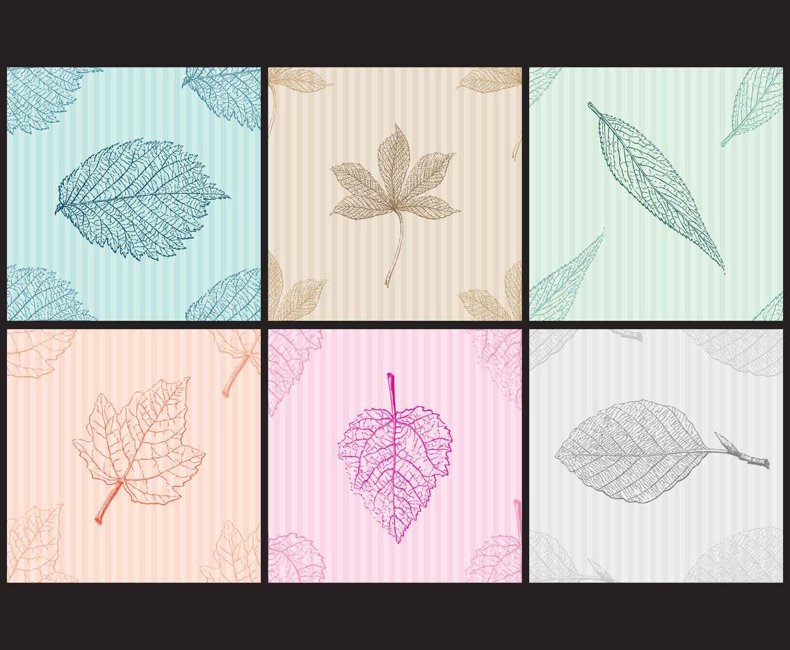 Vintage Monochromatic Leafs Patterns
