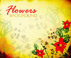 Yellow Flowers Background Vector