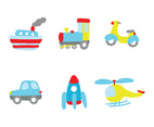 Set of Cartoon Vehicles