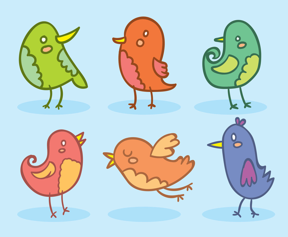 Colorful Cartoon Bird Collection Vector