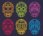 Mexican Skull Colorful Outline Vector Set