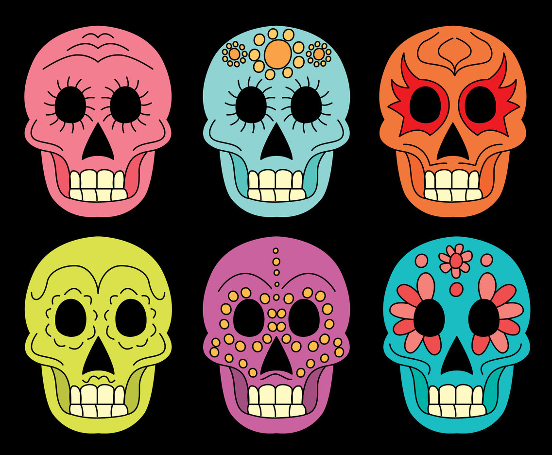 Hand Drawn Colorful Mexican Skull Collection Vector