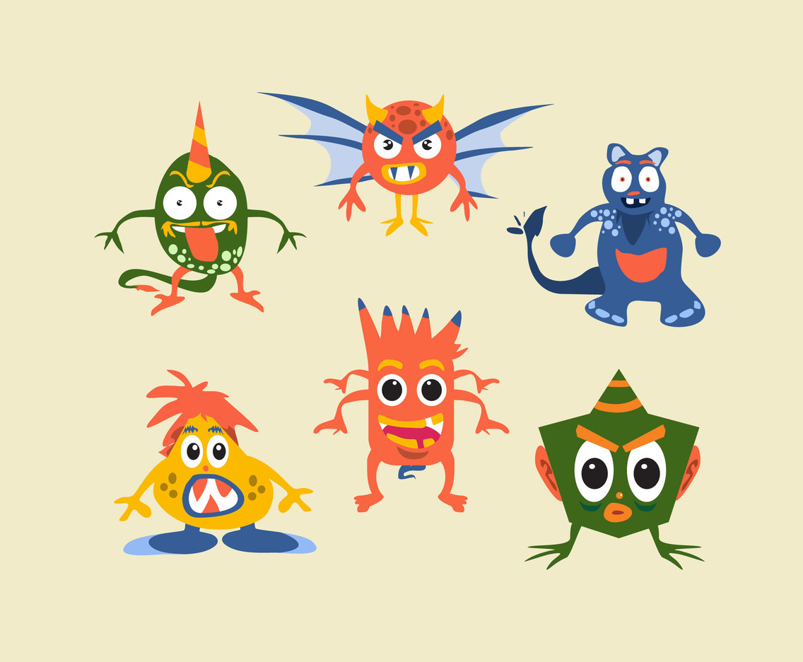 Funky Monsters Vector
