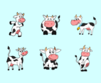 Funny cartoon cow vector pack