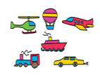 Sketchy Cartoon Vehicles Vector