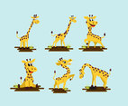 Giraffe cartoon fun pose vector pack