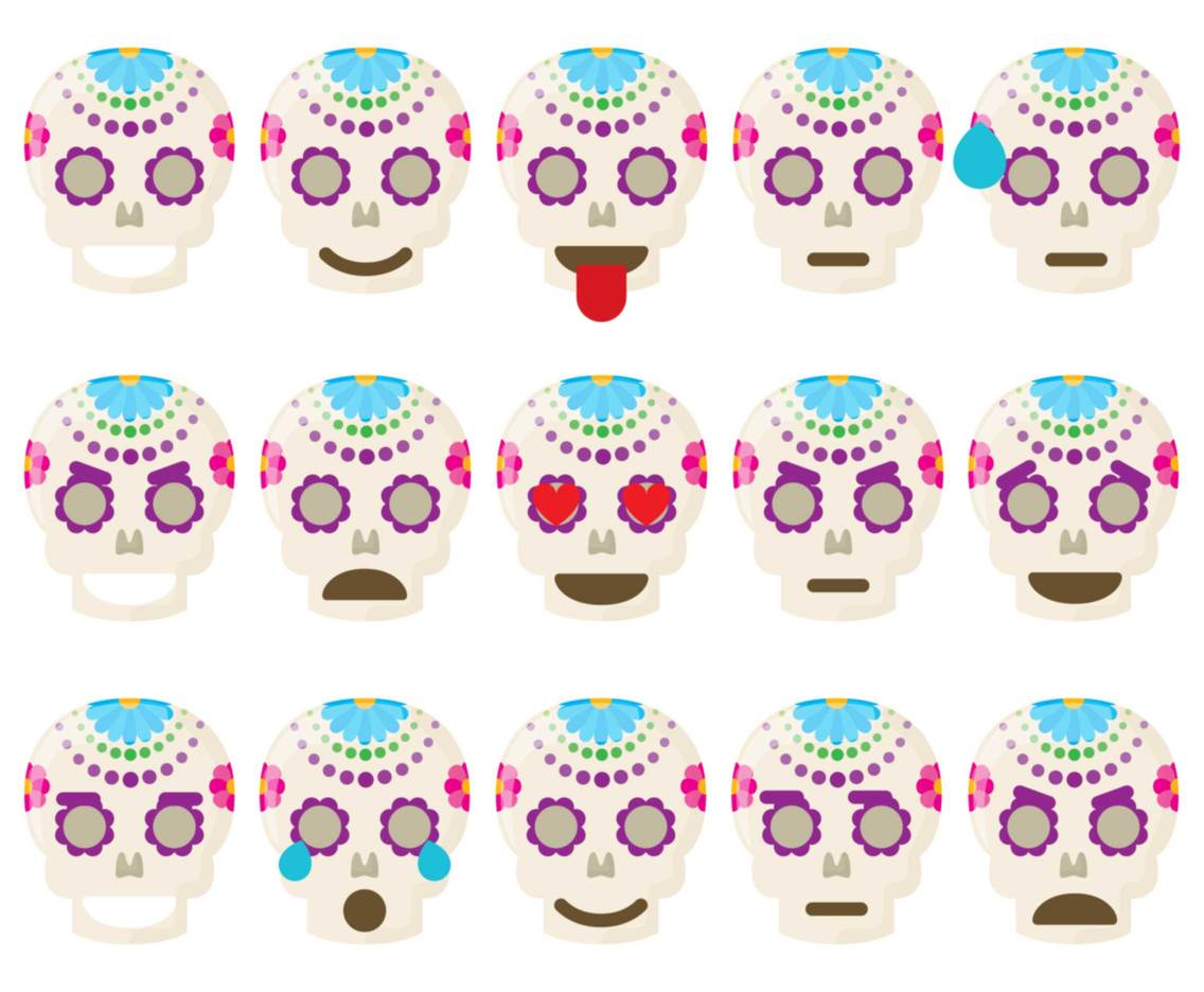 Mexican Skull Emoticons