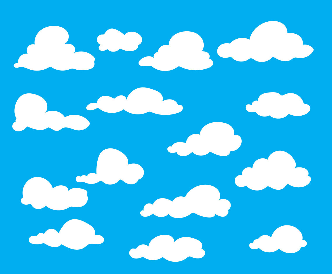 Cartoon clouds vector. White art graphics freevector
