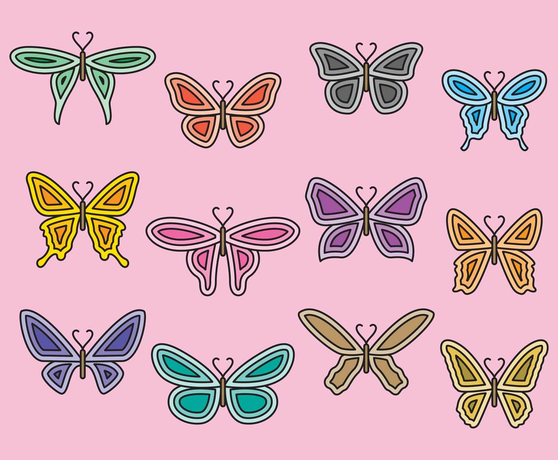 Line And Color Butterfly Set