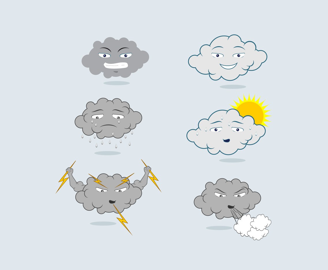 Cartoon Clouds and Weather Vector
