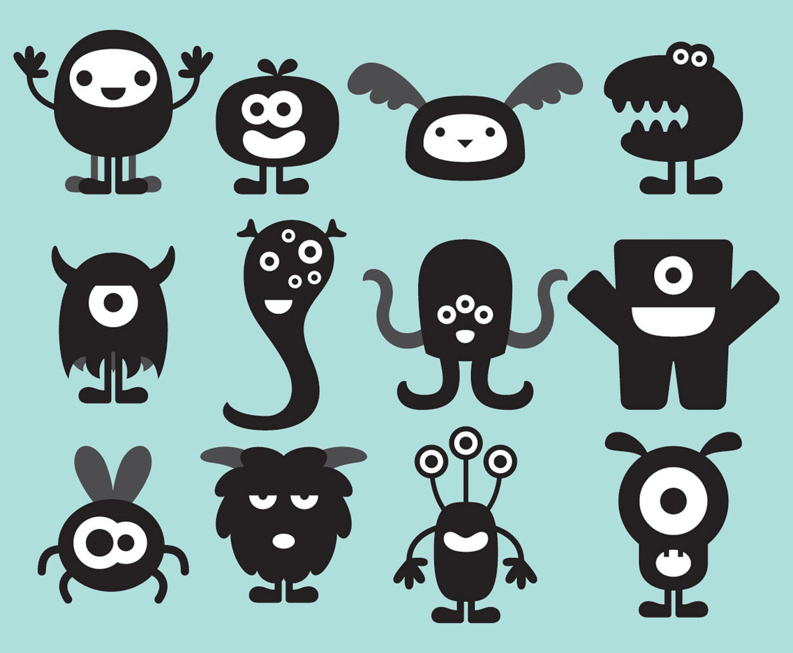 Cute Monster Silhouettes