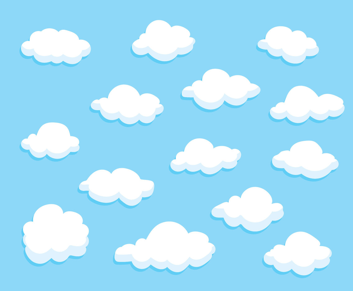 Cartoon Clouds Collection Vector