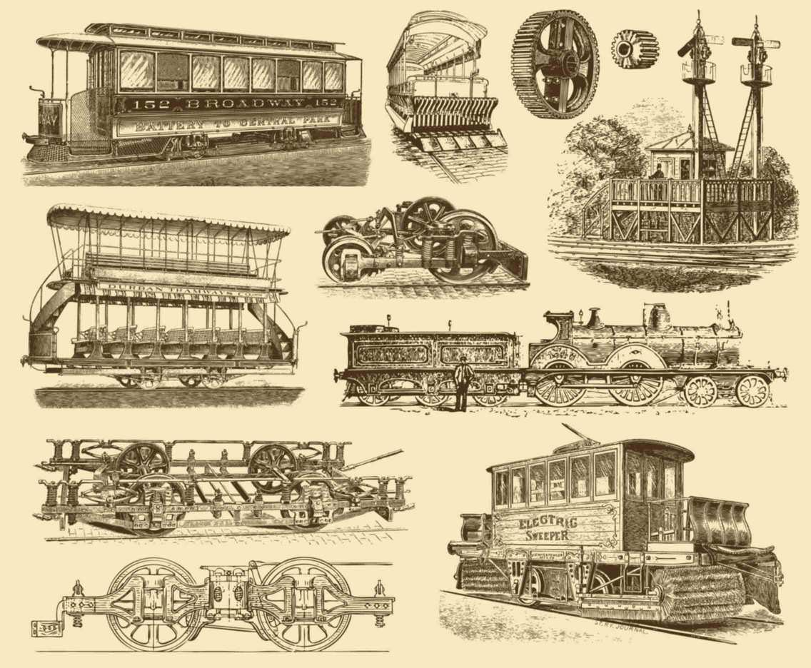 Sepia Vintage Train Illustrations