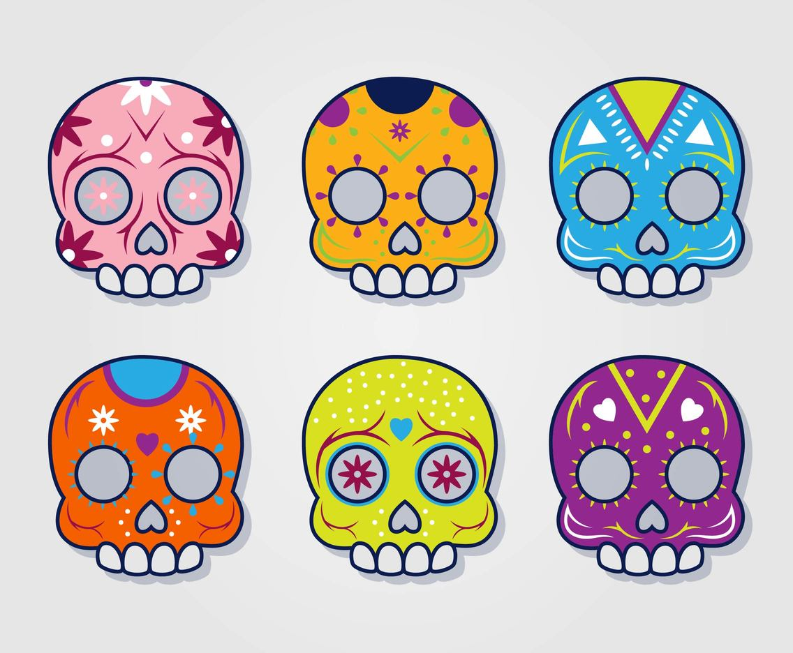 Colorful Mexican Skull Vector Set