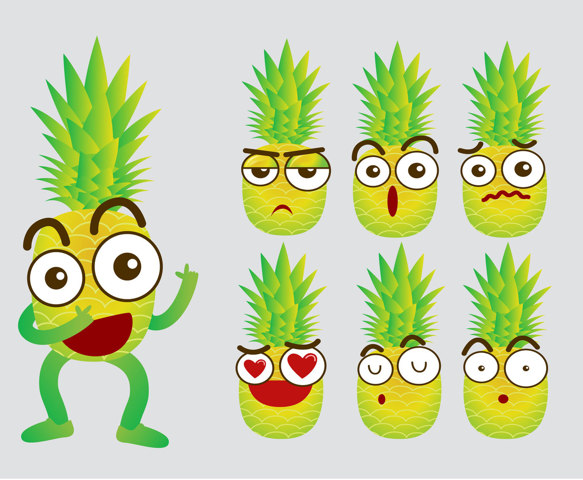 Pineapple Emoji Vector Set