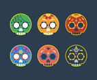 Mexican Sugar Skull Cute Icon Vector