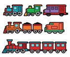 Colorful Train Cartoon Vectors
