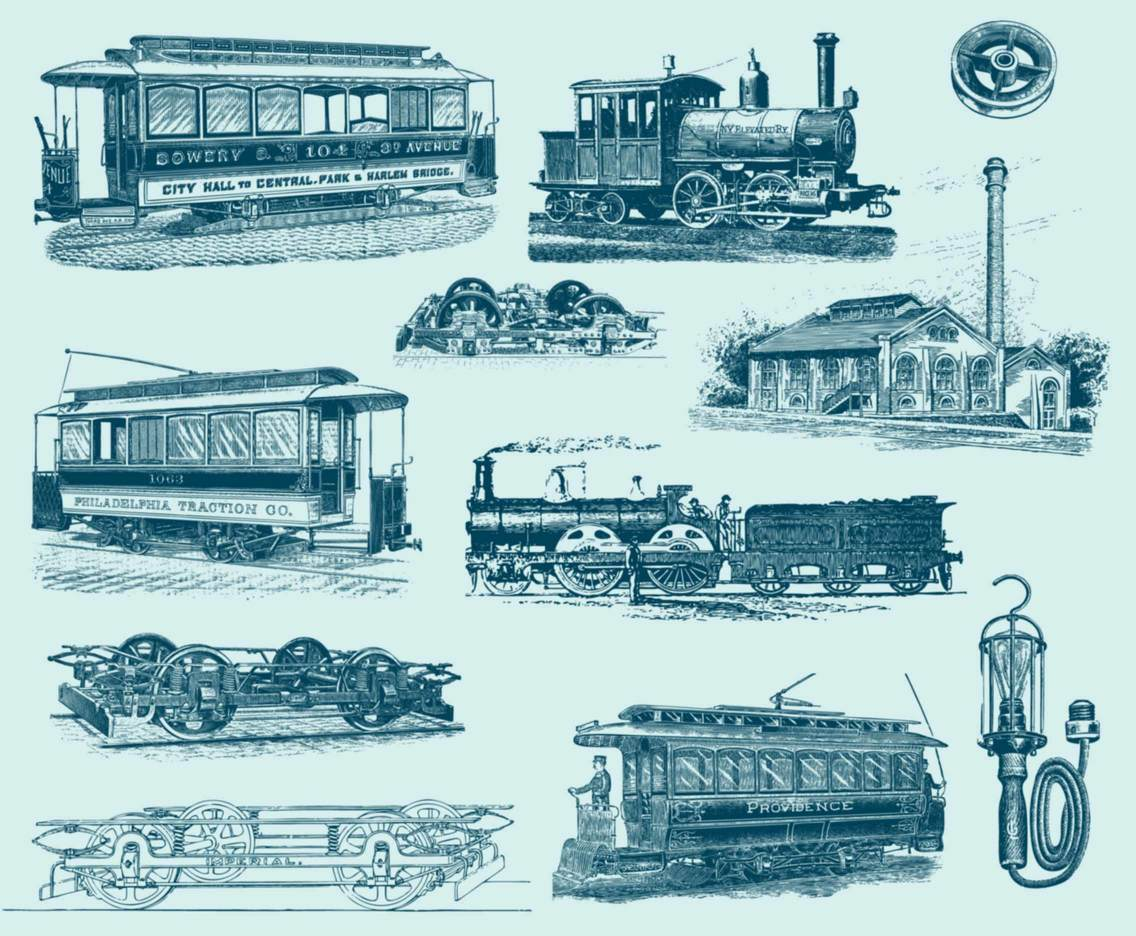 Blue Vintage Train Illustrations