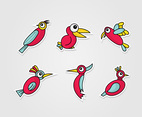 Red Cartoon Birds Vector Set