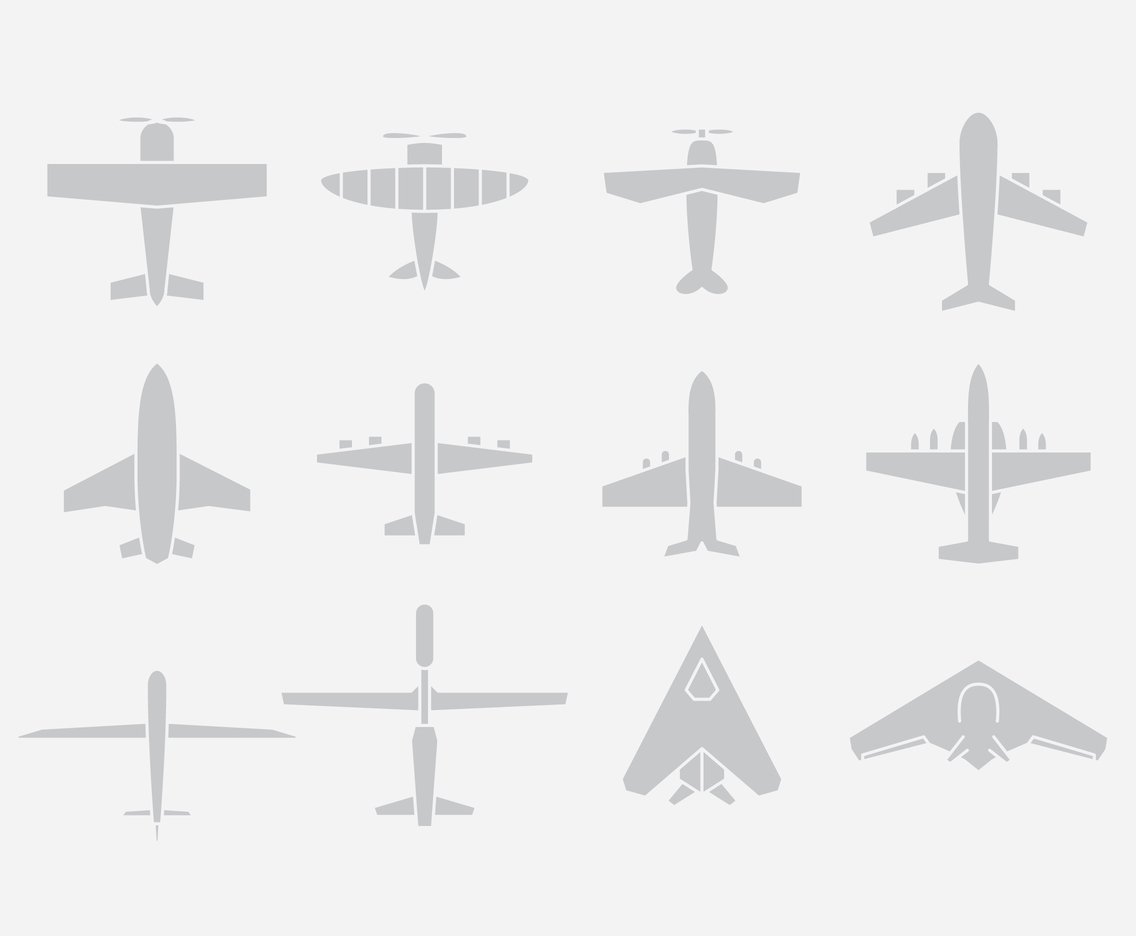 Gray Airplane Icons