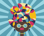 Afro Girl Hippie Background Vector