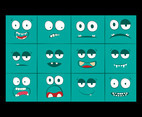 Cartoon monsters faces vector set