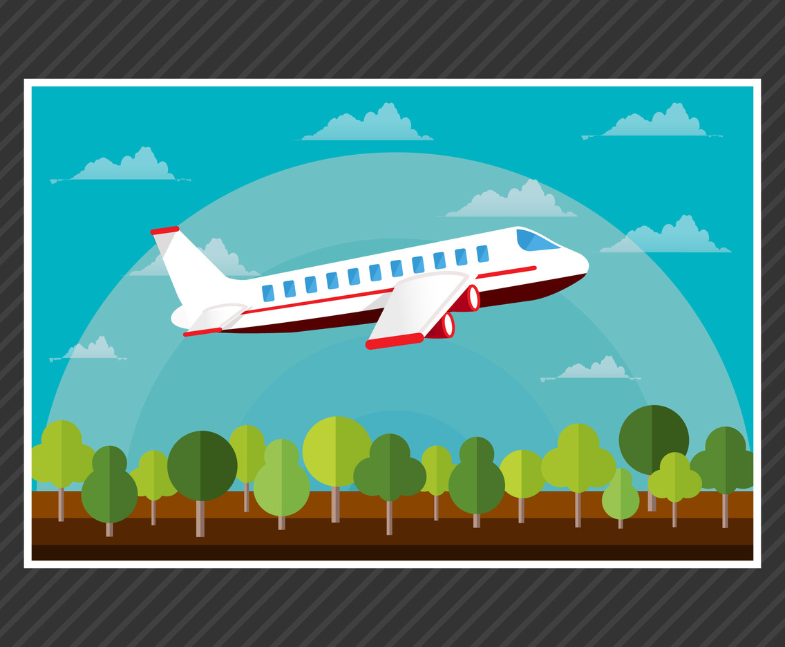 Cartoon plane flat vector with background