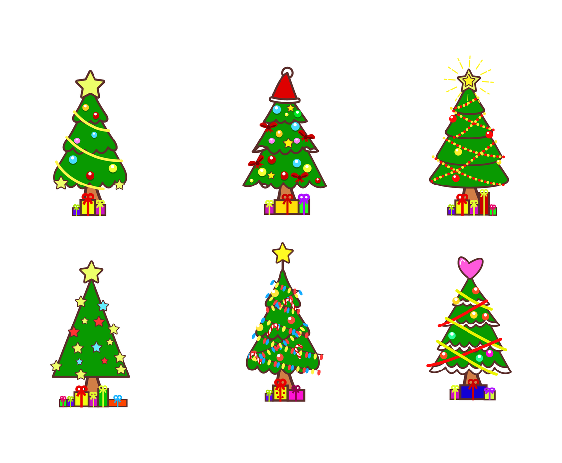 free cartoon christmas tree vectors